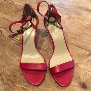 Michael Kors red leather sandals size 9